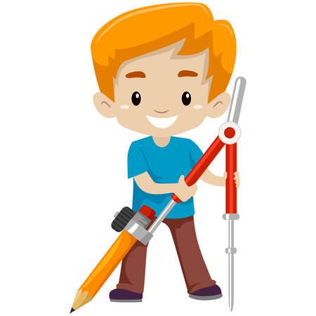 Vector Illustration of a Boy holding a Big Pencil Compass Illustration