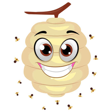 Vector Illustration of Beehive Mascot with Flying Bees around 일러스트