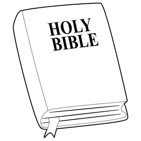 Libro para colorear contorneado de la ilustración de la Santa Biblia. Ilustración de vector