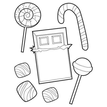 Coloring Book Outlined of Variety of Candies and Chocolates.