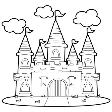 Coloring Book Outlined Big Princess Castle illustration.