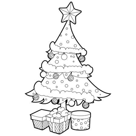 Coloring Book Outlined Christmas Tree with Gift Box.
