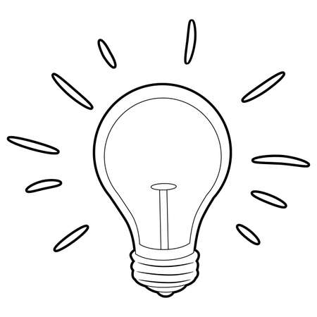 Coloring Book Outlined Light Bulb vector illustration.
