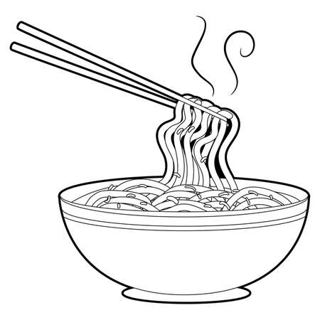 Coloring Book Outlined Noodles Soup with Chopsticks.