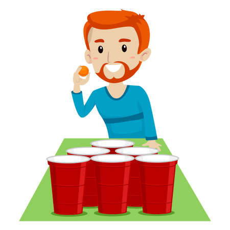 Vector Illustration of a Man playing Beer Pong Illustration
