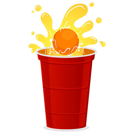 Beer pong shot with ball vector illustration.