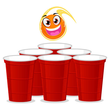 Ball mascot being thrown at the beer pong plastic cup vector illustration. Ilustração