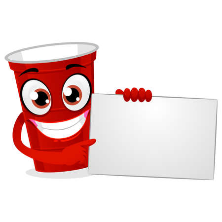 Red plastic beer pong cup holding a white blank board vector illustration. Ilustrace