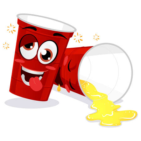 Vector Illustration of Two Red Plastic Beer Pong Cup Feeling Drunk Mascot Illustration