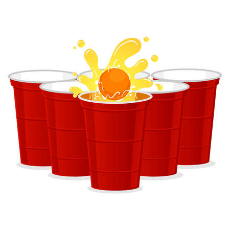Vector Illustration of Beer Pong set with Ball splash