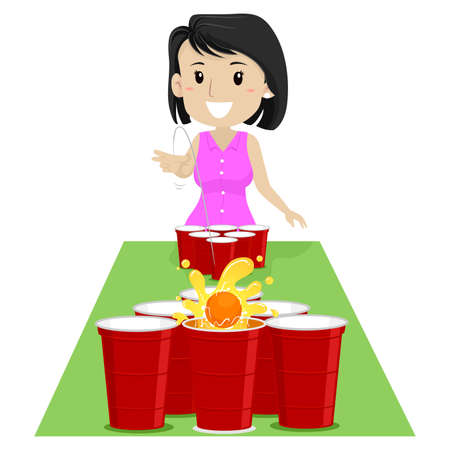 Vector Illustration of a Girl playing Beer Pong