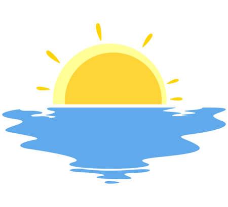 Vector Illustration of Sunset in the sea Illustration