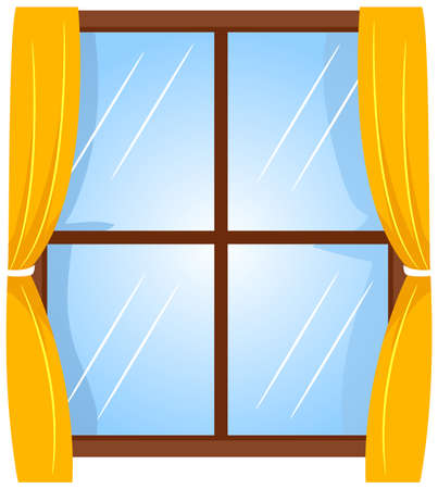 Vector Illustration of Window with Curtain