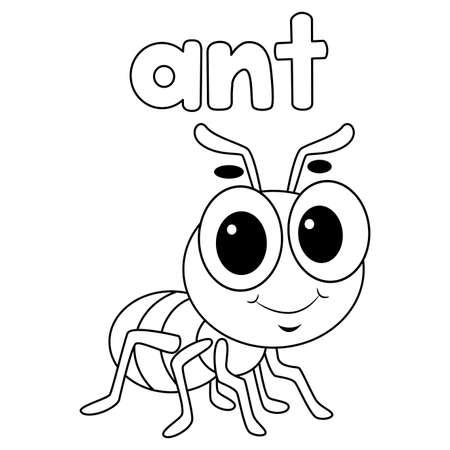 Libro para colorear con contorno de hormiga