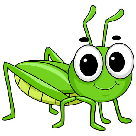 Vector Illustration of Cute Little Grasshopper