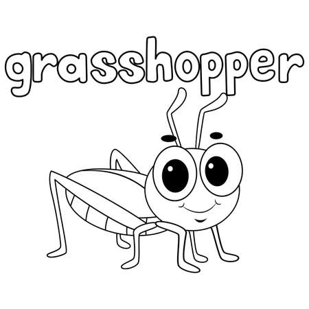 Coloring Book Outlined Grasshopper Vettoriali