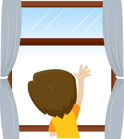 Vector illustratie van Little Kid Boy zwaaien en kijken naar buiten het raam