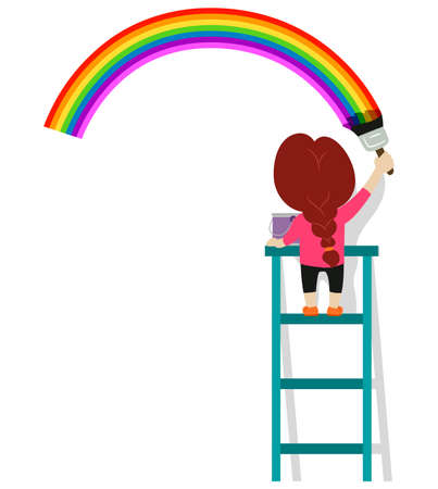 Vector Illustration of Little Girl Painting a rainbow on the wall