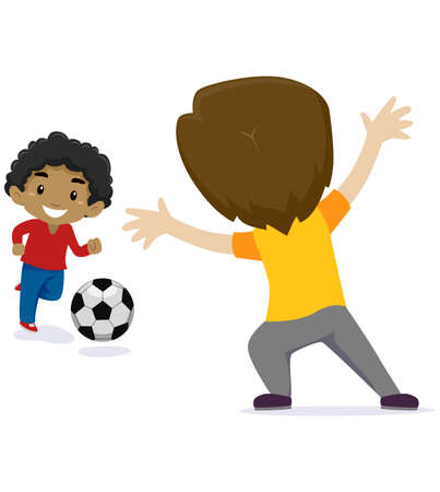 Vector Illustration of Two Little Kids Boy playing Soccer