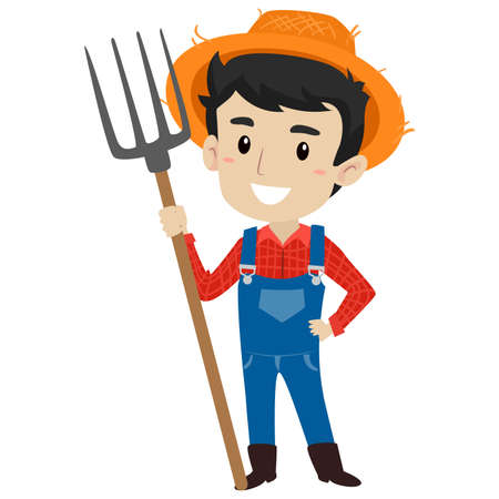 Vector Illustration of a Farmer Man holding a Pitch Fork