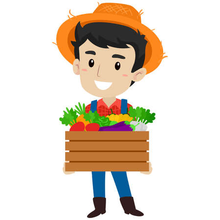 Vector Illustration of a Farmer Man holding a box of Variety of vegetables