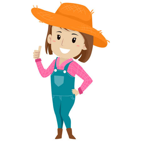 Vector Illustration of a Farm Girl showing a thumbs up