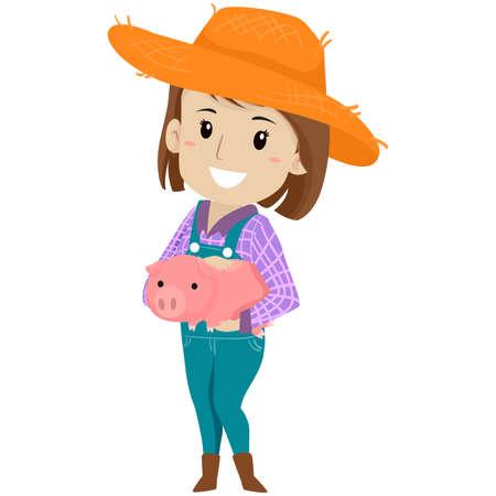 Vector Illustration of a Farm Girl holding a Pig