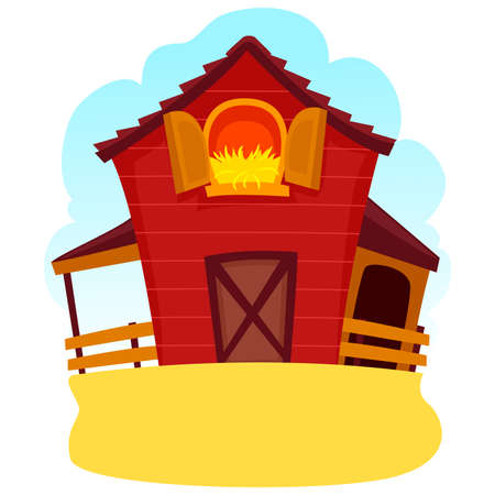 Vector Illustration of a Barn Wood with Hay in the window Illustration
