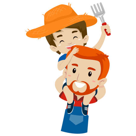 Vector Illustration of a Father Farmer piggy back riding his Son Ilustração