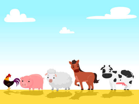 Vector Illustration of Farm animals walking in the farm field
