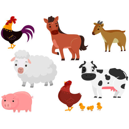 Vector Illustration of Different Farm Animals in white background