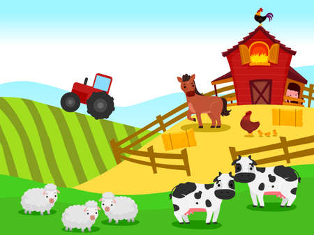 Vector Illustration of Farm with Barn and Animals Background Ilustração