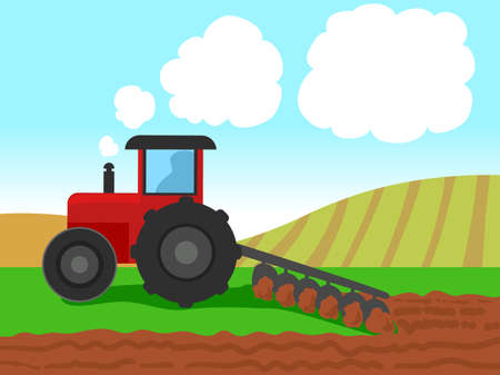 Vector Illustration of Tractor Plowing on Farm Field