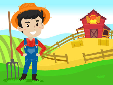 Vector Illustration of a Farmer with hay fork in Farm field Background  イラスト・ベクター素材