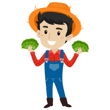 Vector Illustration of a Farmer holding lots of Money