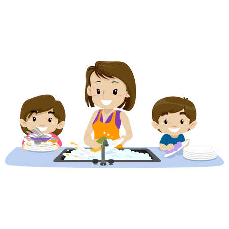2 Kids helping their mother washing the dishes Illustration