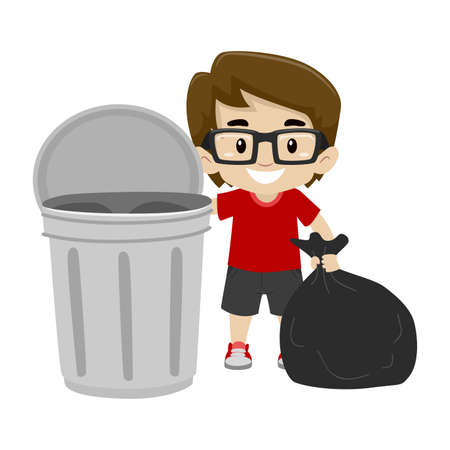Little Boy throwing the garbage bag in the trash can
