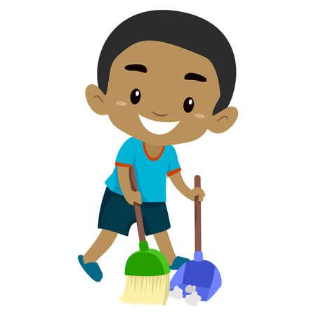 Black Boy Kid sweeping the Floor