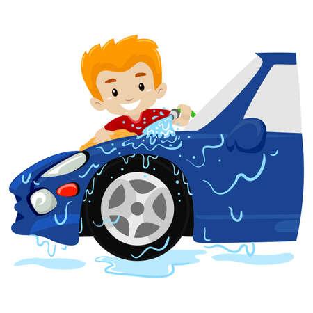 Boy washing the Car