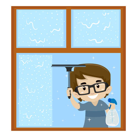 Boy cleaning the Window Illustration