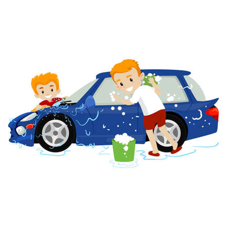 Father and Son washing the Car