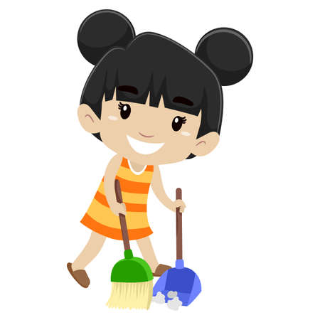 Little girl Sweeping the floor