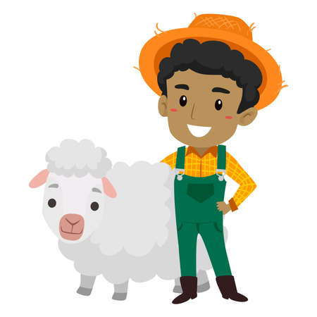 Farmer with Sheep Illustration