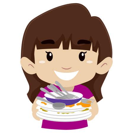 Vector Illustration of a Little Girl holding pile of dirty dishes Vektoros illusztráció