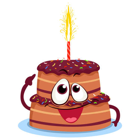 Vector Illustration of a Doodle Birthday Chocolate Cake mascot with candle