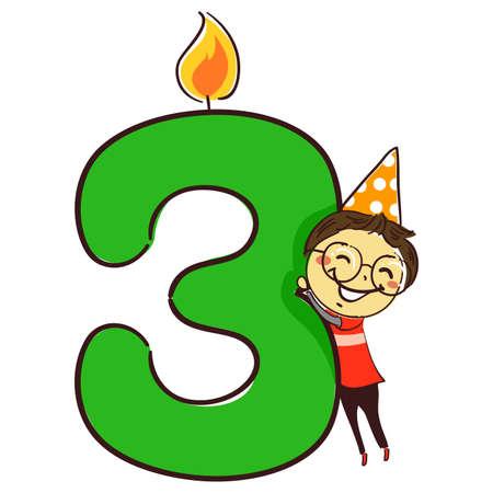 Vektor-Illustration der Kerze Nummer drei mit Strichmännchen Little Boy Kid mit Partyhut