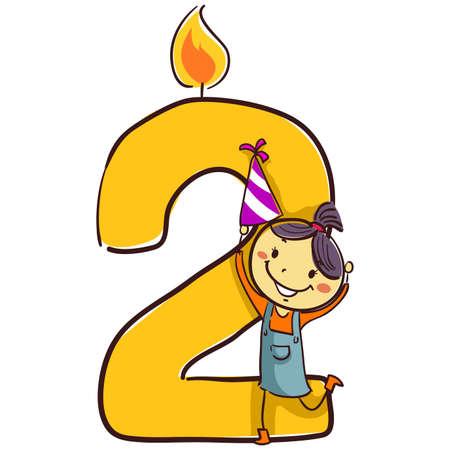 Illustration vectorielle de bougie numéro deux avec stick Figure Little Girl Kid tenant un chapeau de fête