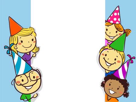 Vector Illustration of Stick Figure Little Children beside a White Board Birthday Frame Template Ilustração