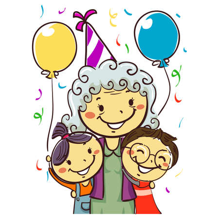 Vector Illustration of a Grandmother celebrating her Birthday with Kids wearing party hat Ilustracja