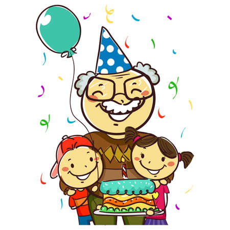 Vector Illustration of a Grandfather celebrating her Birthday with Kids holding a Cake